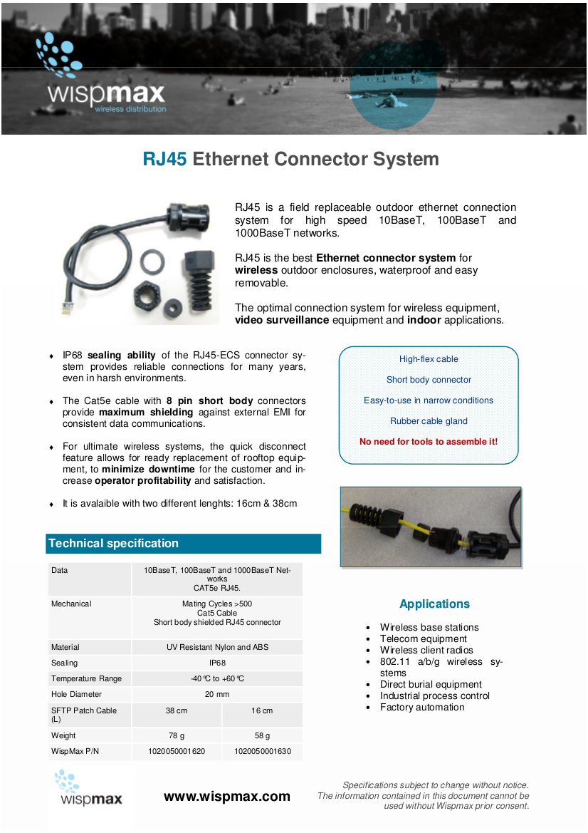 New RJ45 Ethernet Connector System datasheet